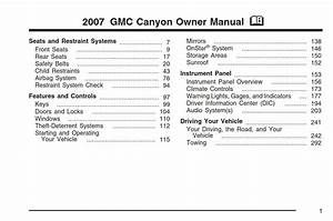 Gmc Canyon 2007 Owner U0026 39 S Manual Has Been Published On