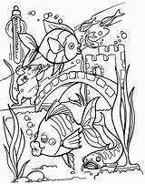 Coloring Fish Pages Tropical Tank Colouring Adults Printable Sheets Realistic Drawing Adult Aquarium Fishing Bang Detailed Ocean Clipart Types Tag sketch template