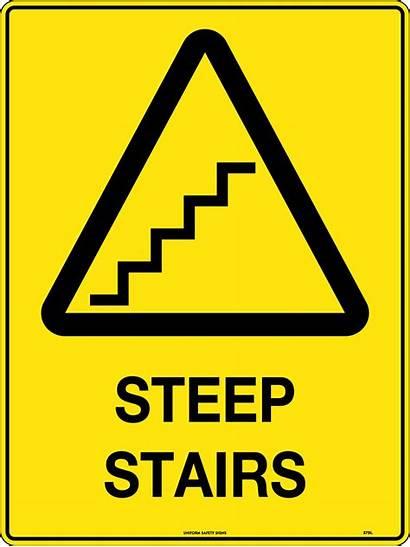 Caution Stairs Signs Steep Safety Hazard