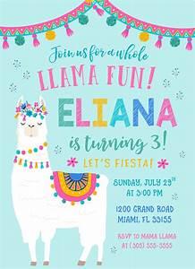 Llama Invitation  Llama Fun Birthday  Fiesta Birthday Invitation  Llama Birthday Fiesta