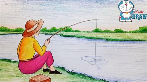 Drawing A Fishing Boat Step By Step by How To Draw Scenery Of Fishing Step By Step Youtube