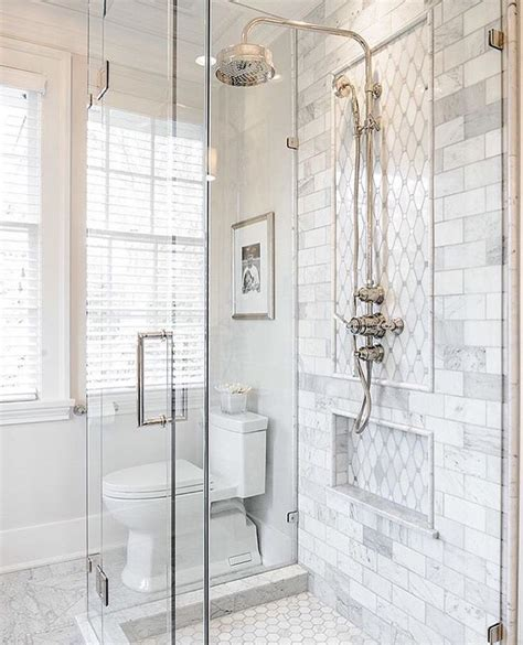 Marble Bathroom Ideas by Faux Marble Tile Inside Shower White Hexagon Tile On