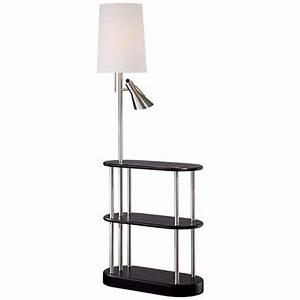 triple shelf brushed steel espresso floor lamp With floor lamp with shelves india