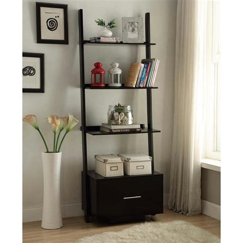 Black Bookcase by Convenience Concepts American Heritage Black Ladder
