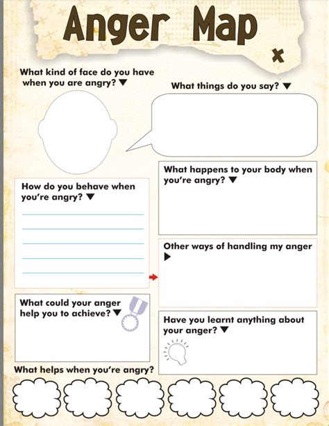 anger map worksheet free printable therapy for