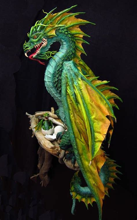 mache paper dragon dragons sea dan reeder finished diy clay sculpture papier fantasy head doll creatures crafts chinese paperblog strictly