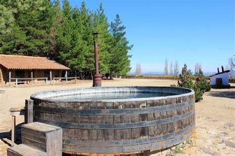 wine barrel tub tub in a wine barrel j bouchon winery chile