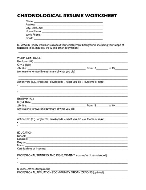 ideas of resume writing worksheet for high school students