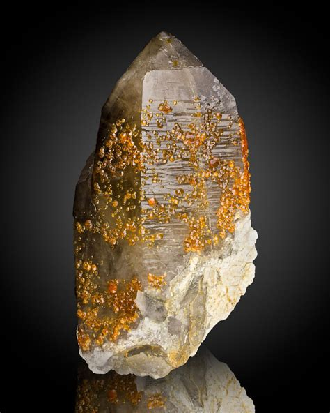 "81"" Orange Spessartine Garnet Crystals On Smoky Quartz"