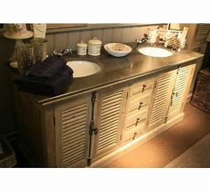 Meuble Salle De Bain Bois Double Vasque : meuble double vasque chene 3832 ~ Melissatoandfro.com Idées de Décoration
