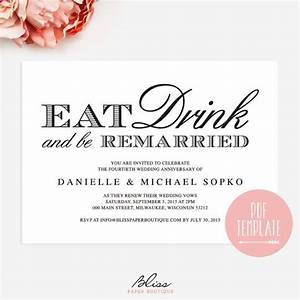 vow renewal invitation quoteat drink and be remarried With free printable wedding renewal invitations