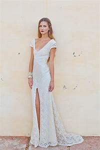 Stretch lace bohemian wedding dress lace by for Stretch lace wedding dress