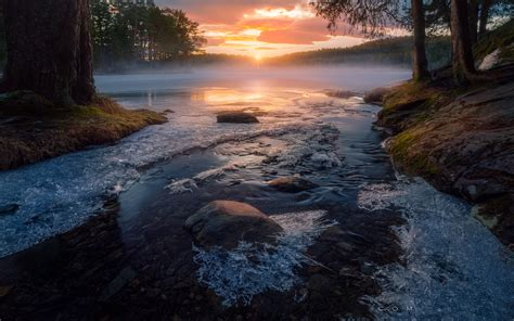 sunrise  sun rays frozen creek trondheim norway