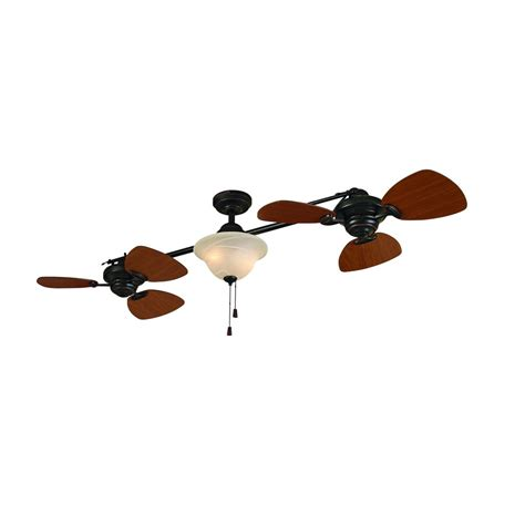 ceiling fan with double shop allen roth 74 in twin breeze aged bronze ceiling