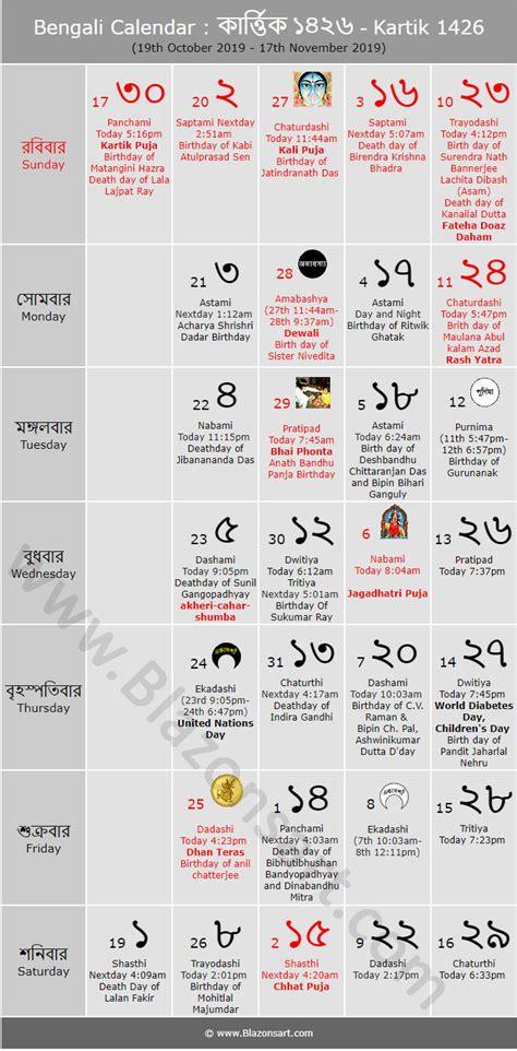 bengali calendar kartik