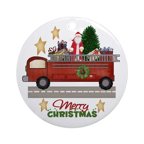 firefighter fireman christmas ornament round by cowpiecreek
