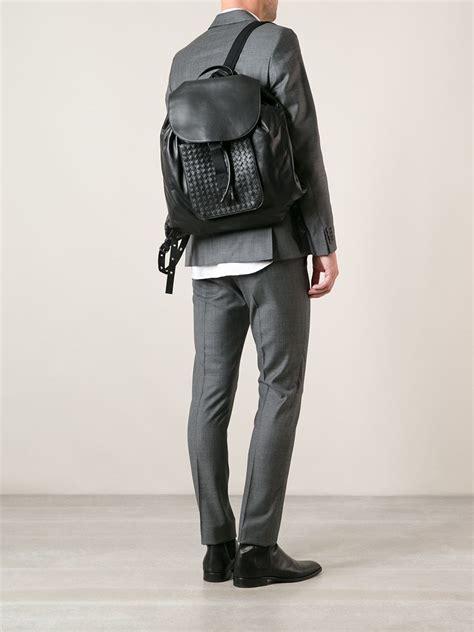 bottega veneta intrecciato backpack  blue  men lyst