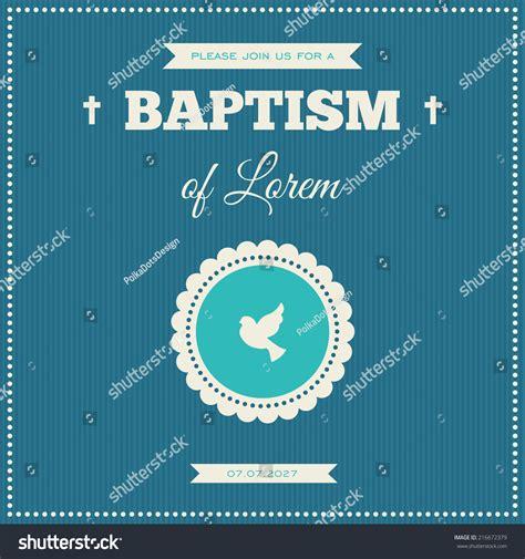 Baptism Invitation Frame Symbol Dove On Stock Vector