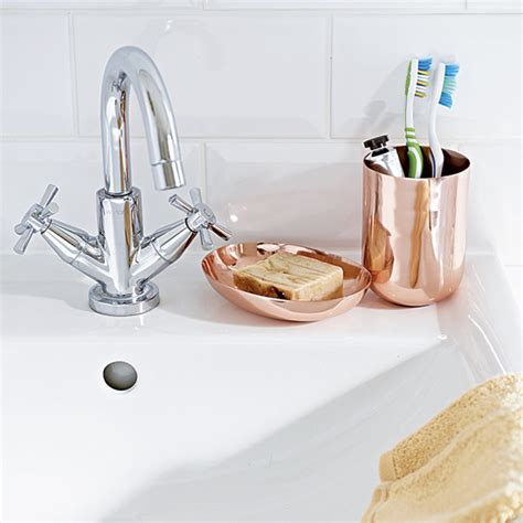 Modern Copper Bathroom Accessories by White Bathroom Sink With Copper Accessories Ideal Home
