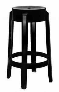 Tabouret De Bar Empilable : tabouret haut empilable charles ghost h 65 cm plastique noir opaque kartell ~ Teatrodelosmanantiales.com Idées de Décoration