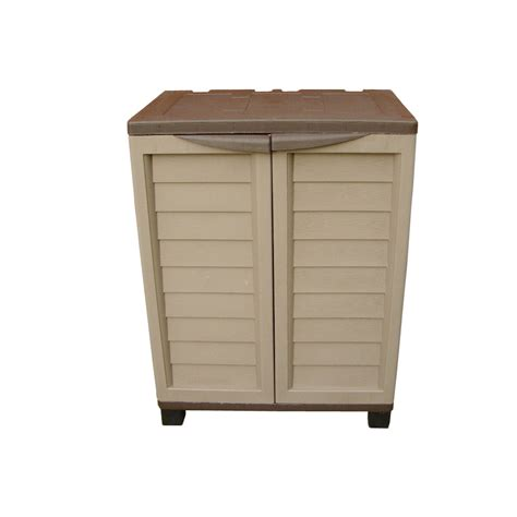 outdoor mocha storage cabinet with 2 shelves gables and
