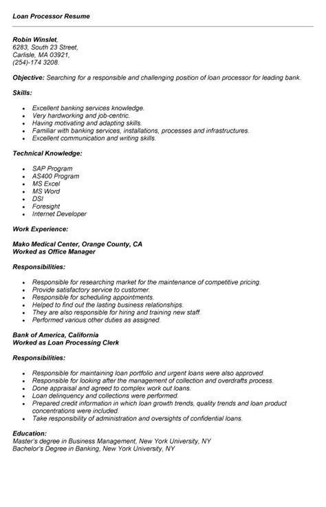 sample  loan processor resume  job application samplebusinessresumecom