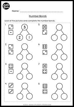 nnumber bonds kindergarten worksheet template printable