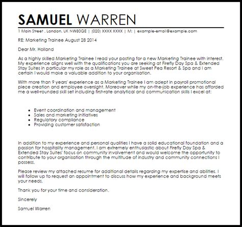 Cover Letter For Audit Trainee by Marketing Trainee Cover Letter Sle Cover Letter