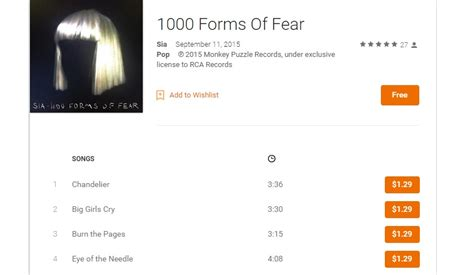 free on play sia s 1000 forms of fear album best