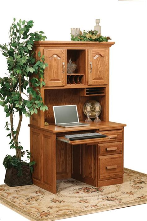 solid oak computer desk with hutch amish flat top computer desk with hutch top 42 quot