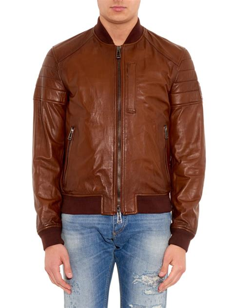 lyst belstaff stockdale leather bomber jacket  brown