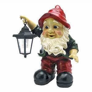 Edison with the Lighted Lantern Garden Gnome Statue