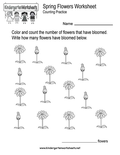 flowers worksheet free kindergarten seasonal 729 | spring flowers worksheet printable