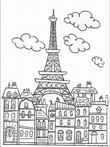 Coloring Paris Tower Eiffel Adult Buildings Pages Printable Adults sketch template