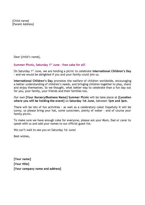 summer picnic sample child invitation letter  london