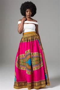 Sexy Elegant High Waist Jazzy African Ankara Print Maxi Skirt - Long