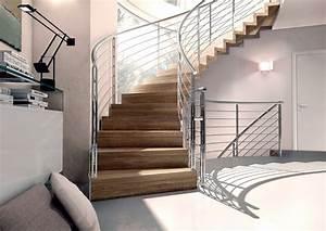 Escalier Quart Tournant En Bois Rambarde Inox Divinox
