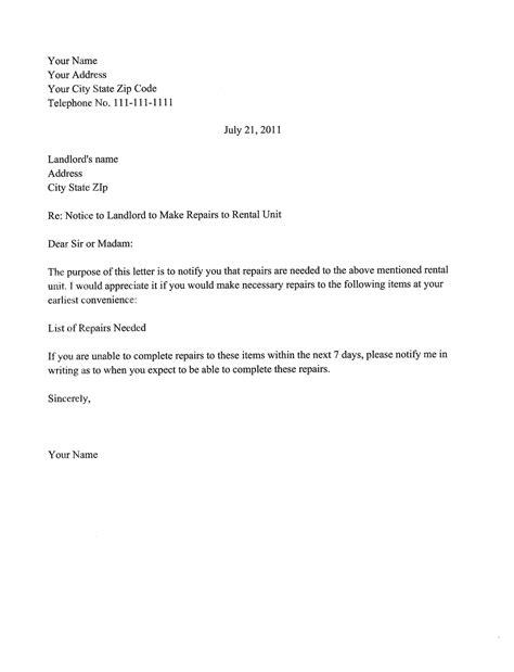landlord letter to tenant sle letter to landlord for repairs best letter sle