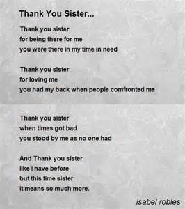 Thank You Sister Poems
