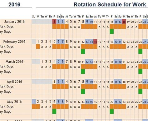 rotation schedule  work template schedule template