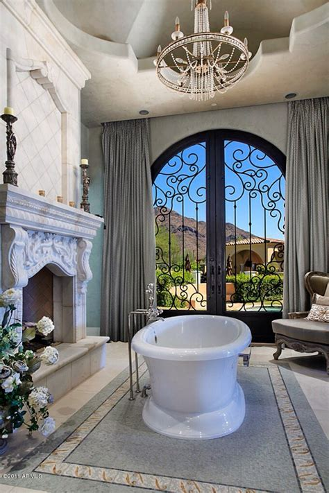 luxury master bathroom    cool   fireplace