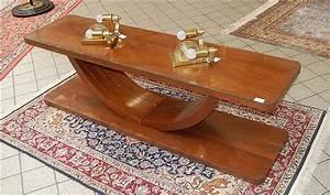 Table Basse Art Deco : table basse de salon art d co en bois massif et sa tablette ~ Teatrodelosmanantiales.com Idées de Décoration