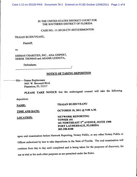 federal district court cover letter notice of taking deposition