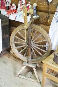 Distaff  Spinning Yarn On Spinning Wheel Stock Photo