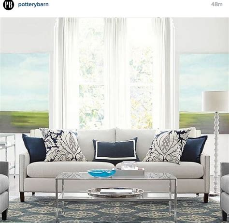 pottery barn living room blue grey home decor