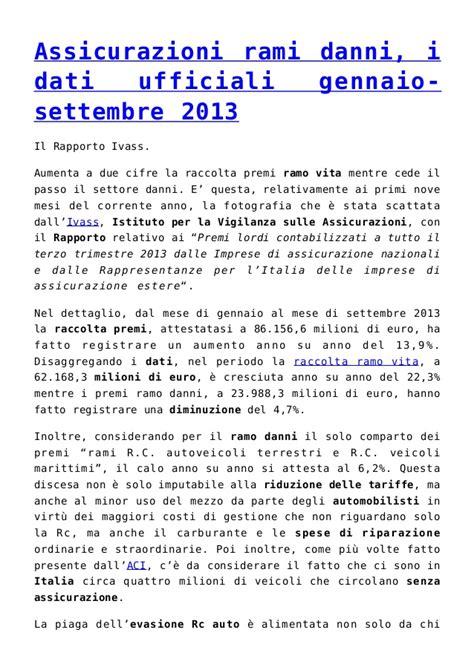 Dati Assicurazioni Assicurazioni Rami Danni I Dati Ufficiali Gennaio