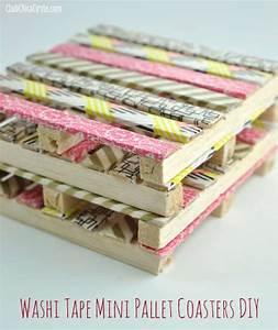 Washi tape mini wood pallet DIY coasters - Washi Tape Crafts