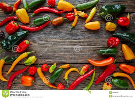 Mexican Hot Chili Peppers Colorful Mix Stock Image Image