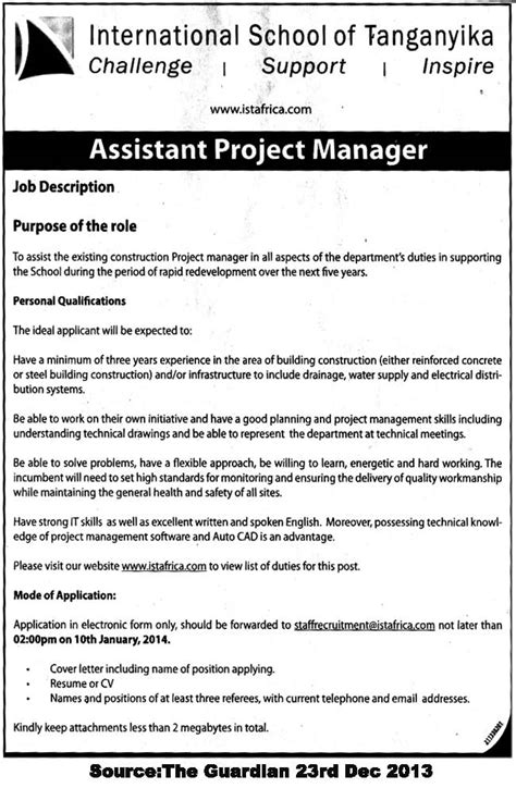 Assistant Project Manager Resume Pdf by Assistant Project Manager Tayoa Employment Portal