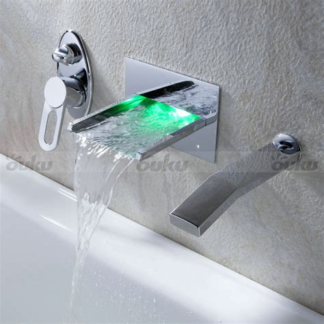 in wall mount led waterfall tub faucet bathtub mixer tap